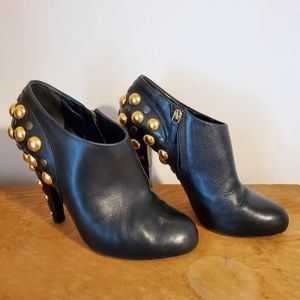 Gucci babouska black ankle booties with gold studs